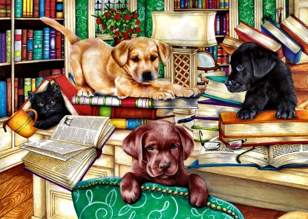 Reading Time - Pets - art, beautiful, pets, illustration, artwork, canine, animal, feline, painting, wide screen, cats, dogs