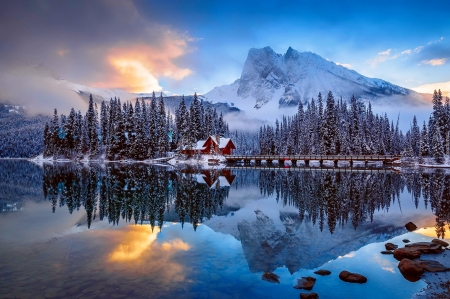Winter lake - forest, cabin, beautiful, trees, sky, lake, winter, mountain, snow, bridge, reflection