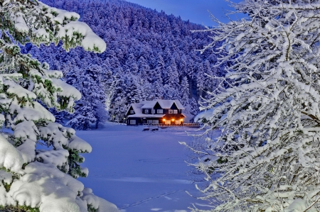 Cabin in winter mountain - forest, hills, dusk, beautiful, cabin, trees, winter, mountain, snow