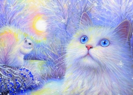 Snowflakes for Sachi - moons, draw and paint, holidays, squirrel, sunlight, love four seasons, cat, xmas and new year, winter, paintings, snow, winter holidays, woodland, animals