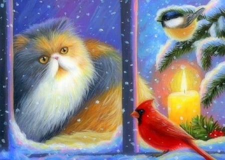 Birds at Jasmine's Window - candle, Christmas, holidays, window, love four seasons, birds, cat, xmas and new year, winter, paintings, snow, winter holidays, animals