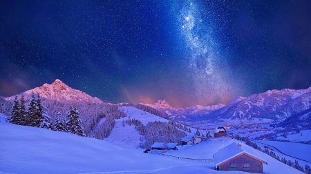 Milky way in winter - sky, night, milky way, mountain, village, snow, winter, view, stars, dusk, sunset, beautiful