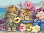 Kittens Among Pansies
