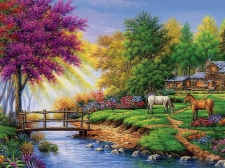 Cabin by the Stream - rural, houses, colors, love four seasons, spring, attractions in dreams, trees, horses, countryside, paintings, summer, flowers, nature, cabins, streams, rivers