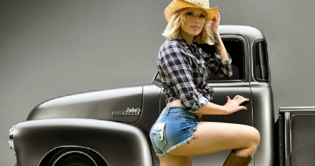 Her Custom '49 . . - hats, models, female, boots, cowgirl, women, outdoors, hotrod, Chevy, truck, western, pickup, style, blondes