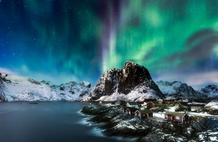 Landscape with Coastline - houses, aurora, lofoten, mountains, nature, scenery, norway, coast, landscpe