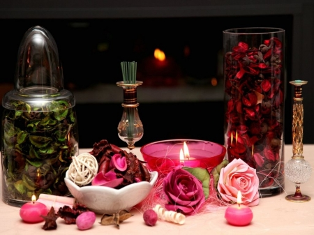 Rose Potion - flame, flowers, roses, iols, candles, potion