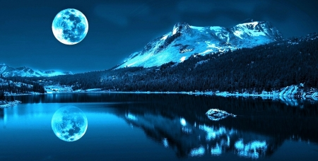 Reflecting Moon - mountain, snow, nature, reflection, trees, lake, winter