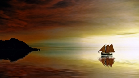 Ship at Sea - rock, sunset, sky, sea, sailing ship, boat, ship, cliff, schooner, reflection, Firefox Persona theme, light