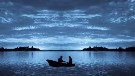 Love on a Boat - row boat, romance, sky, lake, sea, lovers, water, love, Firefox Persona theme, blue, couple