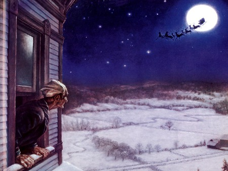 Happy Christmas To All, And To All A Good Night! - winter, man, night, house, santa, sleigh, reindeer, window