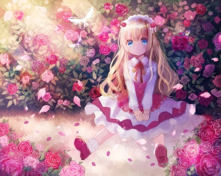 Loli - rose, manga, kohaku muro, loli, girl, anime, lolita fashion, garden, flower, pink