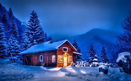 House at Winter Night - houses, trees, clouds, sky, lights, winter, mountain, snow, nature, landscape