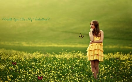 Be My Valentine - Yellow, Valentine, Flowers, Woman, Meadow, Butterfly