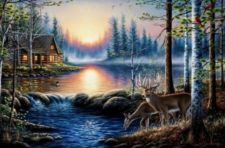Lakeside Cabin  - lakes, north woods, love four seasons, spring, attractions in dreams, deer, lakeside, paintings, summer, nature, cabins