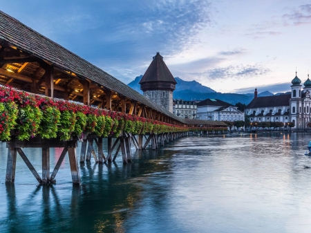 Lucerne, Switzerland - bridge, mountains, alps, clouds, sky, lake