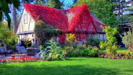 spring garden - architecture, cottage, houses, flowers, beauty, gardens, nature, spring