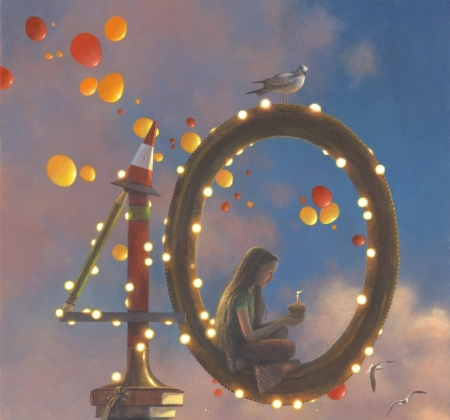 Birthday - candle, girl, balloons, painting, pictura, birthday, lights, jimmy lawlor