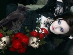 Gothic Woman & Roses
