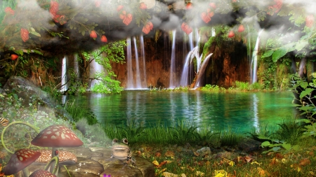 Magical Waterfalls - mystical, toad stools, fairy tale, fog, waterfalls, mist, pond, frog, magical, waterfall, flowers, mushrooms