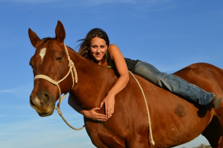 Loves Her Horse - brunette, cowgirl, heart, sky, rope, horse