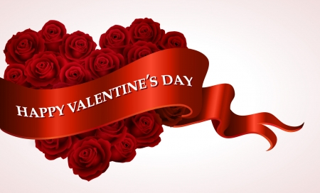 Happy Valentine's Day - Love, heart, Valentines, Happy, Day, ribbon, red, roses