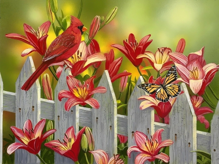 Cardinal and lilies - colorful, flowers, spring, bird, art, garden, fence, lilies, pretty, cardinal, butterfly