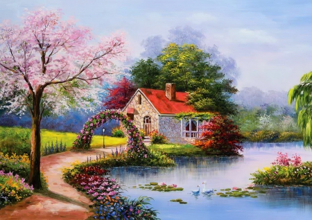Tha house at the lake - pretty, art, house, cottage, beautiful, spring, lake, bridge, peaceful, blooms