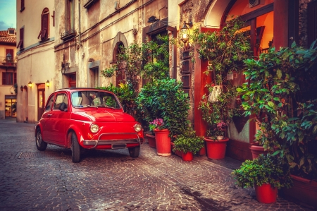 Steet in Tuscany - town, Tuscany, house, Italy, retro, street, car, village, red, beautiful