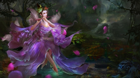 Purple Fairy - fantasy, fairy, lovely, art, flowers, purple, pretty, woman, female, girl, digital, beautiful, nature