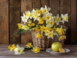 Daffodils and apple