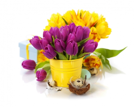 Bouquet of Purple and Yellow Tulips - tulips, bouquet, yellow, flowers, spring, bird, eggs, purple