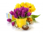 Bouquet of Purple and Yellow Tulips