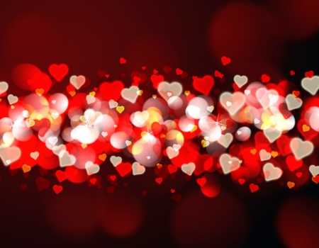 Bokeh Valentine's Day - red, romantic, holiday, background, love four seasons, hearts, bokeh, love, beloved valentines