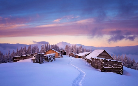 Winter in Tyrol, Austria - cabins, sunset, snow, sky, clouds, mountains