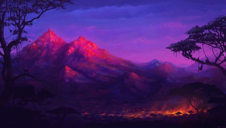 Mountain Glow - landscape, mountains, sky, sunset, painting