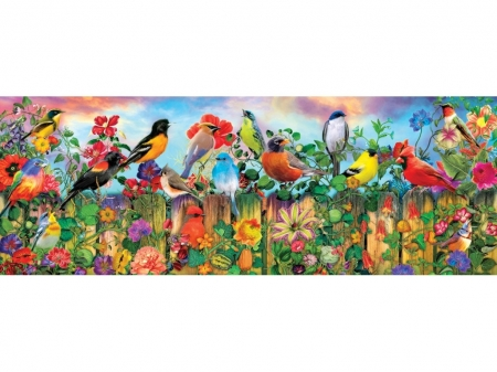 Spring Bird - colorful, puzzle, flowers, spring, birds, fence