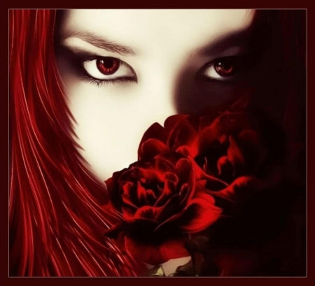GOTHIC RED - RED, GOTHIC, EYES, FEMALE, HAIR, FLOWERS, FACE