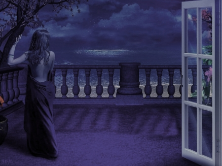 INTO THE NIGHT - OCEAN, FEMALE, SKY, BLUE, DRESS, CLOUDS, NIGHT, BALCONY, STARS, WAVES