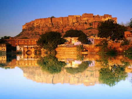 fort reflected sunset - sunset, india, fort, reflected
