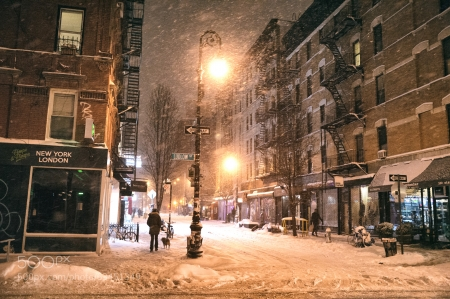 New York in Winter - architecture, houses, dusk, lights, winter, snow, people, painting, road
