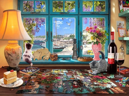 The Puzzler's Desk - cake, lamp, window, wine, book, puzzle, artwork, beach, boat, flowers, painting, cats
