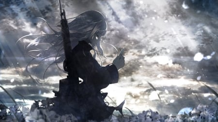Pray - white hair, dress, sky, sunset, girl, pray, field, weapon, lovely, beauty, sweet, flowers, black, female, beautiful, cute, sunlight, long hair, anime girl, clouds, anime, woman, lady