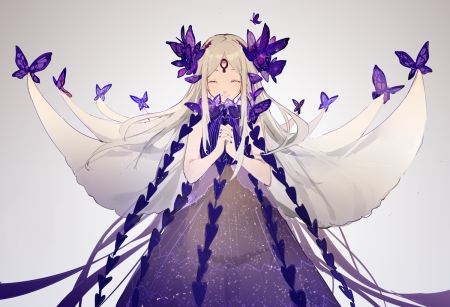 Purple Magic Butterflies - white hair, beautiful, woman, sweet, anime, beauty, anime girl, long hair, female, lovely, soft, butterflies, cute, girl, purple, lady, princess
