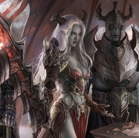 Devil Knights - red, fantasy woman, white hair, beautiful, woman, horns, demons, fantasy, devils, long hair, knights, art, swords, female, male, golden, man, abstract, armor