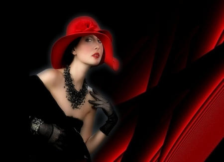 valentine day - red heart, valentin day, red hat lady, red backround