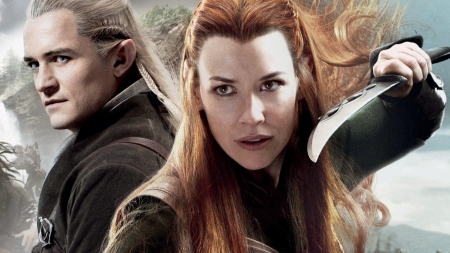 The Hobbit (2012-2014) - poster, tauriel, redhead, actress, Actor, the hobbit, legolas, fantasy, Orlando Bloom, Evangeline Lilly, elf, man, girl, movie