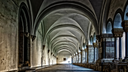 Monastery - light, cloister, walkway, Firefox Persona theme, monastory, religious, architecture, church