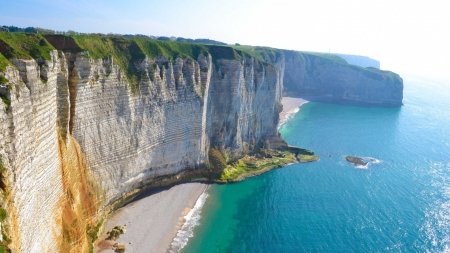 Cliffs of Dover - English, Dover, cliff, nature, beauty, sea, Canal, limestone, beaches, ocean, photography, aerial