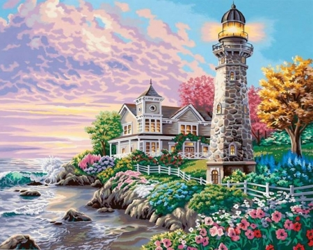Spring Lighthouse - flowers, spring, nature, lighthouses, oceans, garden, paintings, attractions in dreams, houses, love four seasons, cottages, summer